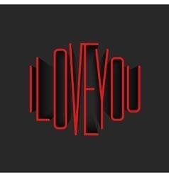 I Love You lettering red monogram poster mockup vector image vector image