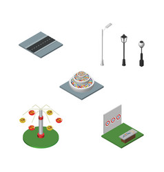 isometric city set of path plants aiming game vector image