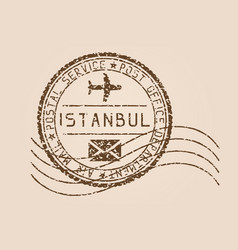 Istanbul mail stamp old faded retro styled vector