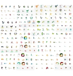 Mega set of geomeric lettering company logos vector