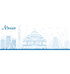 Outline Mexico skyline with blue landmarks vector image