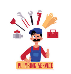 Plumber man thumbs up and tools vector