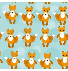 Seamless pattern with funny cute fox animal on a vector image vector image
