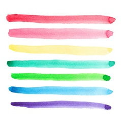 Set of vivid watercolor brush strokes vector