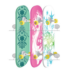 skateboard collection isolated on white vector image vector image