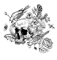 Skull with Flowers Roses Birds and Feathers vector image vector image