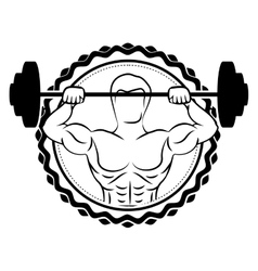 Sticker border with silhouette muscle man lifting vector
