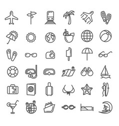 summer vacation outline icons set vector image