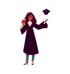 Female student in traditional gown throwing cap vector