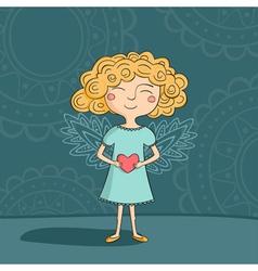 Blonde girl angel vector image