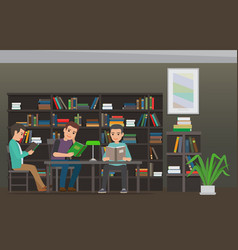 Students reading textbook in library flat vector