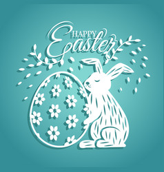 Bunny and egg for easter day greeting card vector