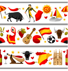 Spain seamless border spanish traditional symbols vector
