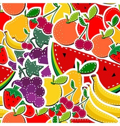 Sewing fruits seamless pattern vector