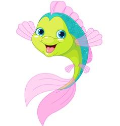 Cute cartoon fish vector image