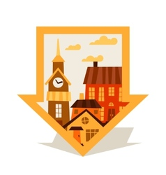 Cityscape navigation marker with cute colorful vector