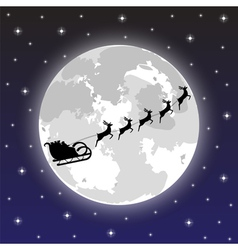 Santa claus rides on deer at night vector