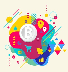 Bit coin on abstract colorful spotted background vector