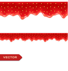 Strawberry jam drips seamless border vector