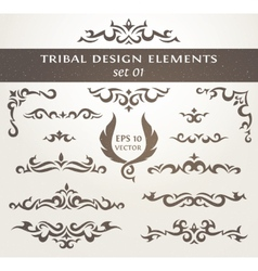 Set of design elements in tribal style collection vector
