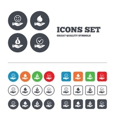Smile and hand icon water drop tick symbol vector