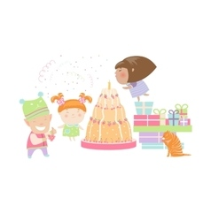 Kids celebrating birthday with gifts and cake vector