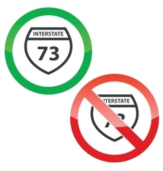 Interstate 73 permission signs set vector
