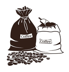 Sacks with coffee and coffee beans vector