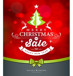 Merry christmas green tree sale white lettering vector