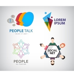 Social net logo people connection logo vector