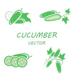 Flat cucumber icons set vector