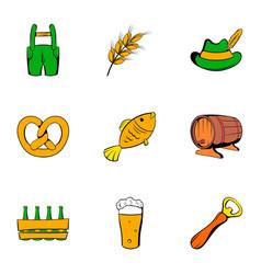 autumn celebration icons set cartoon style vector image
