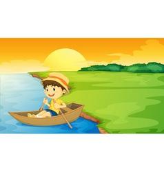 Boy in a boat vector image vector image