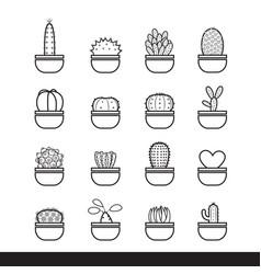 cactus line black icon set vector image vector image
