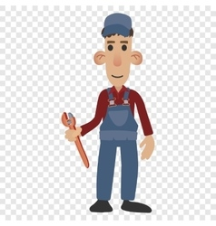 Cartoon plumber holding a wrench vector