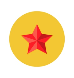 Christmas Red Star Flat Circle Icon vector image