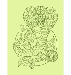 Cobra snake color drawing vector image