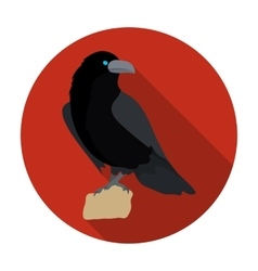 Crow of viking god icon in flat style isolated on vector