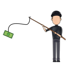 Cyber thief hacker holding fishing rod money vector