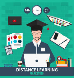 distance learning online education marketing vector image