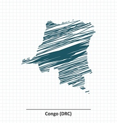 Doodle sketch of democratic republic of the congo vector