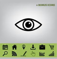 Eye sign black icon at gray vector