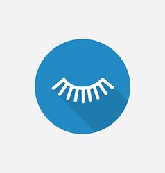 eyelash Flat Blue Simple Icon with long shadow vector image