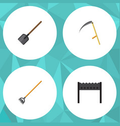 Flat icon garden set of barbecue tool shovel and vector