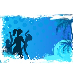 Grunge background with dancing people vector image vector image