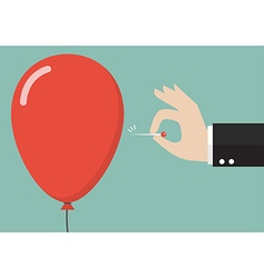 Hand pushing needle to pop the balloon vector image