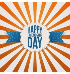 Happy friendship day badge with blue ribbon vector