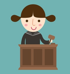 judge with gavel makes verdict for law vector image