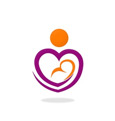 love abstract mother and baby logo vector image
