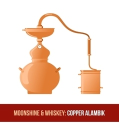 Moonshine and whiskey copper alambik vector